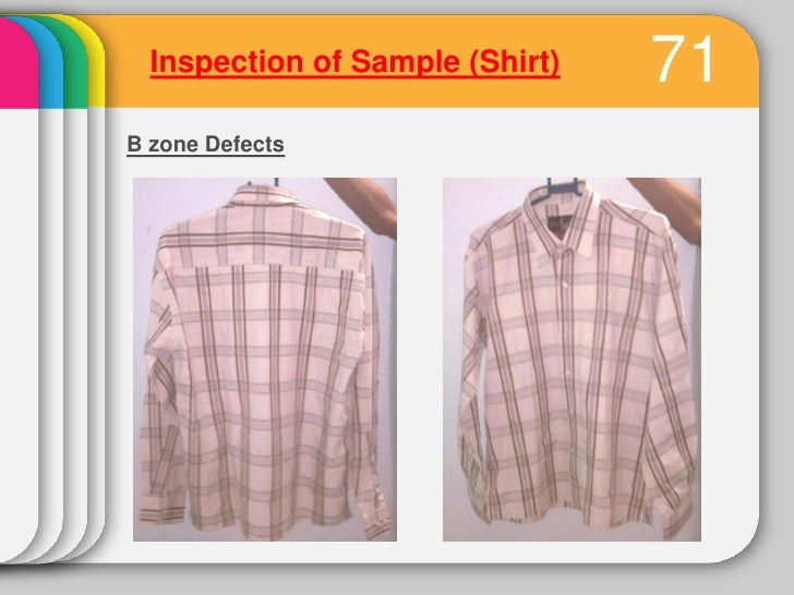 Inspection of Sample (Shirt)                                   74B zone Defects3. Side seamDefects           Causes       ...