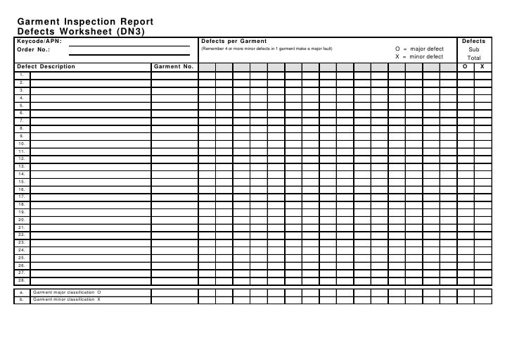 garment inspection report defects worksheet dn3 blank page 2