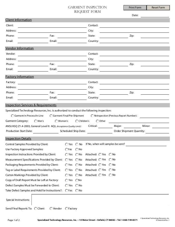 GARMENT INSPECTION                                         Print Form                 Reset Form                          ...