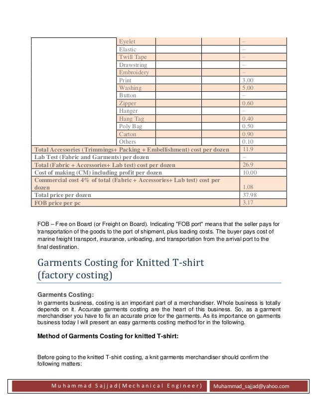 Apparel/Garments costing Methods for export order