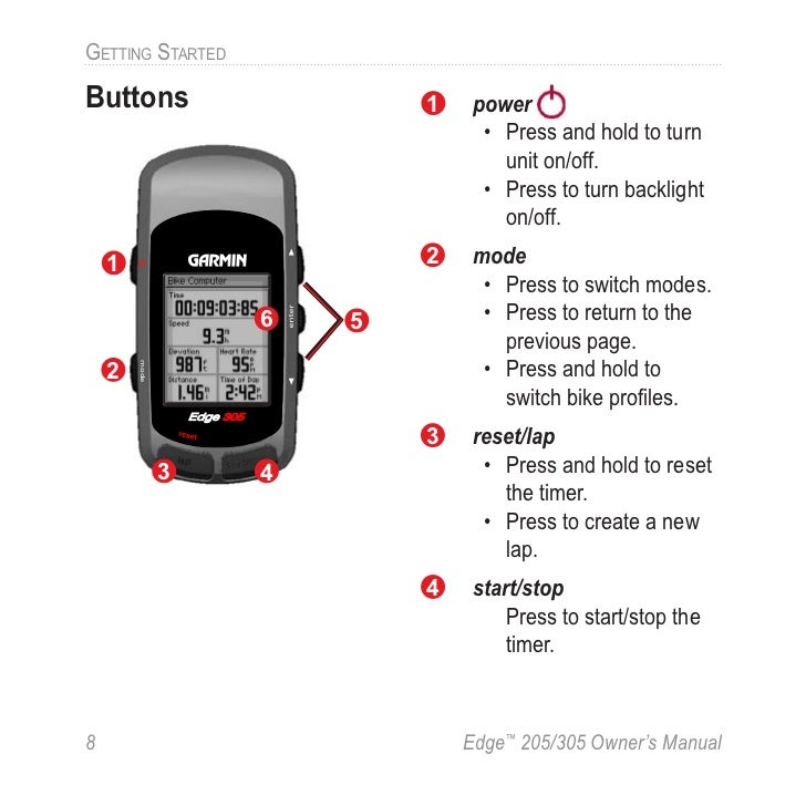 Garmin edge 305 manual