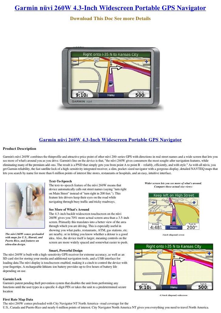 Garminnüvi260W4.3-Inch Widescreen Portable GPS Navigator                                                       Download...