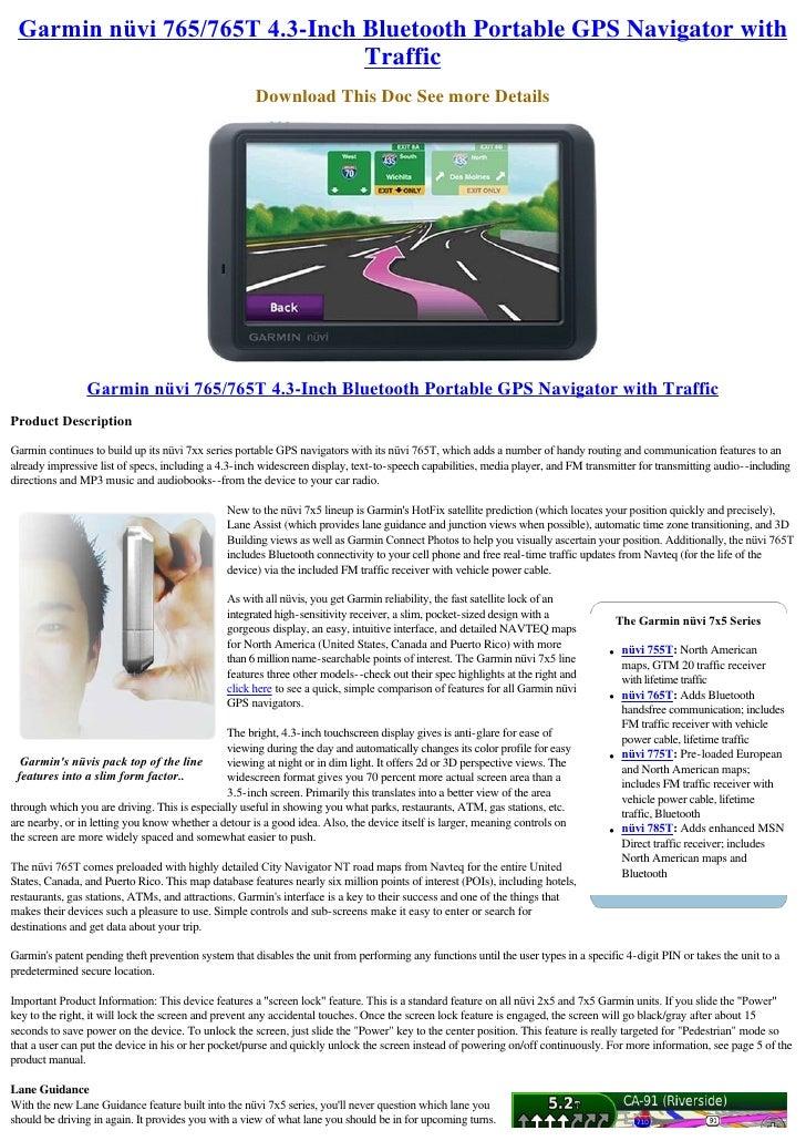 Garminnüvi765/765T4.3-Inch Bluetooth Portable GPS Navigator with                                Traffic                ...