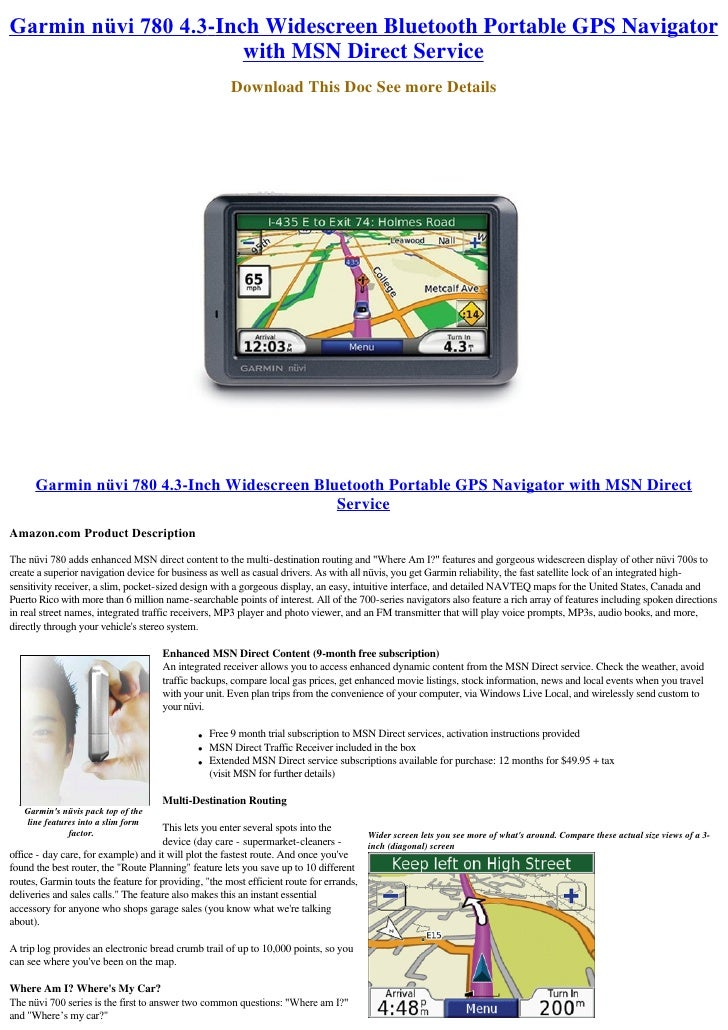 Garmin nüvi 780 4.3-Inch Widescreen Bluetooth Portable GPS Navigator                        with MSN Direct Service       ...