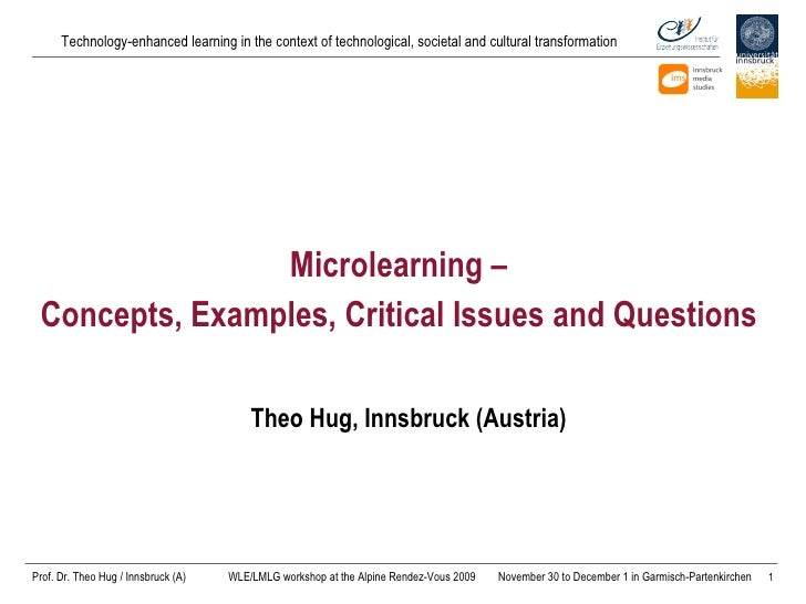 Microlearning –  Concepts, Examples,  Critical Issues and Questions   Theo Hug, Innsbruck (Austria)