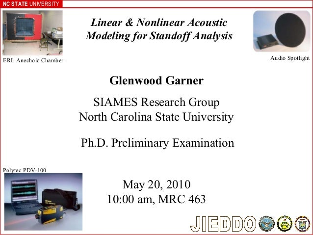 NC STATE UNIVERSITY Glenwood Garner SIAMES Research Group North Carolina State University Linear & Nonlinear Acoustic Mode...