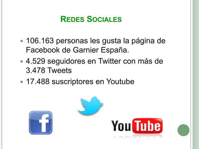 REDES SOCIALES 106.163 personas les gusta la página de  Facebook de Garnier España. 4.529 seguidores en Twitter con más ...