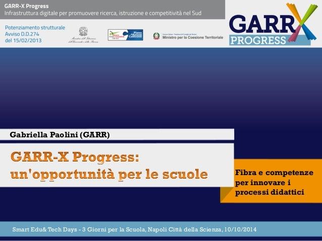Fibra e competenze per innovare i processi didattici  Gabriella Paolini (GARR)  Smart Edu& Tech Days - 3 Giorni per la Scu...