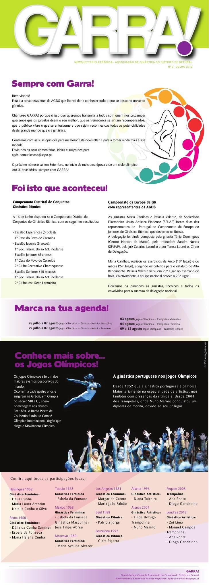 NEWSLETTER ELETRÓNICA - ASSOCIAÇÃO DE GINÁSTICA DO DISTRITO DE SETÚBAL                                                    ...