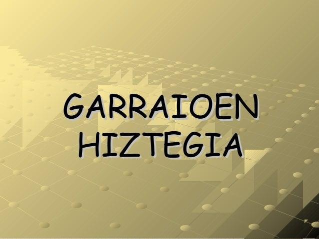 GARRAIOENGARRAIOEN HIZTEGIAHIZTEGIA