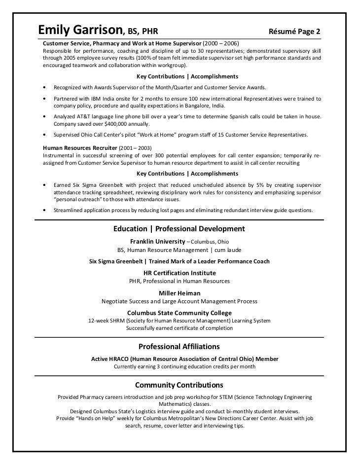 2 - Employee Relation Manager Resume