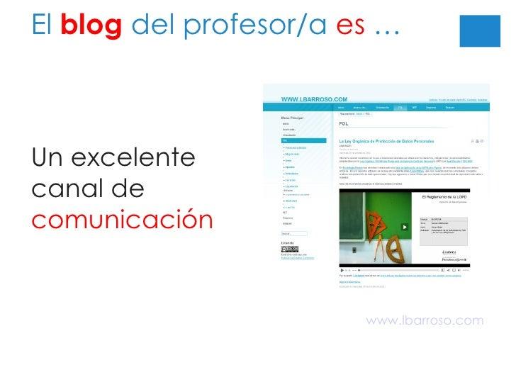 El  blog  del profesor/a  es  … Un excelente canal de  comunicación www.lbarroso.com