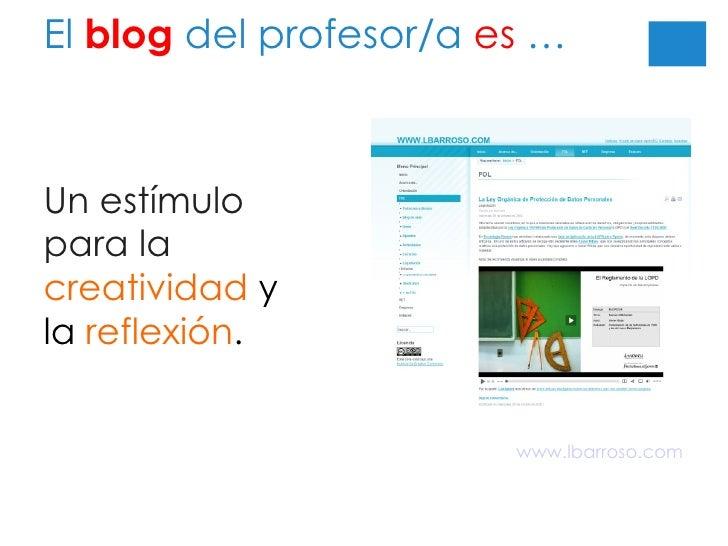 El  blog  del profesor/a  es  … Un estímulo para la  creatividad   y la  reflexión . www.lbarroso.com