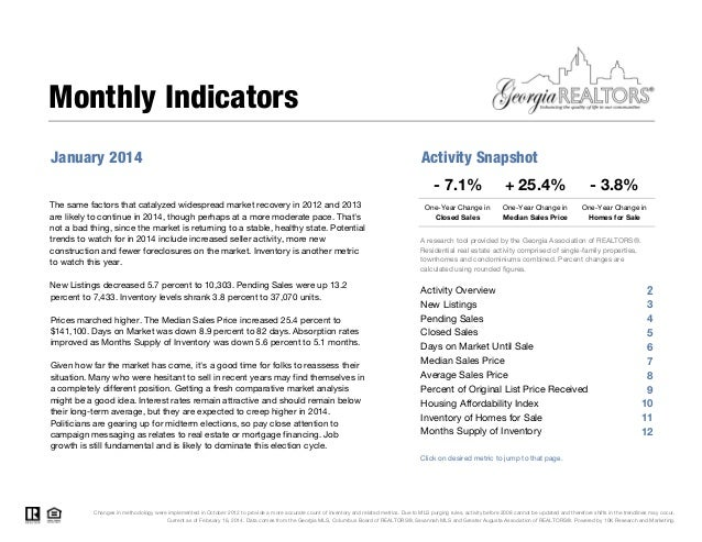 Monthly Indicators January 2014  Activity Snapshot - 7.1%  The same factors that catalyzed widespread market recovery in 2...