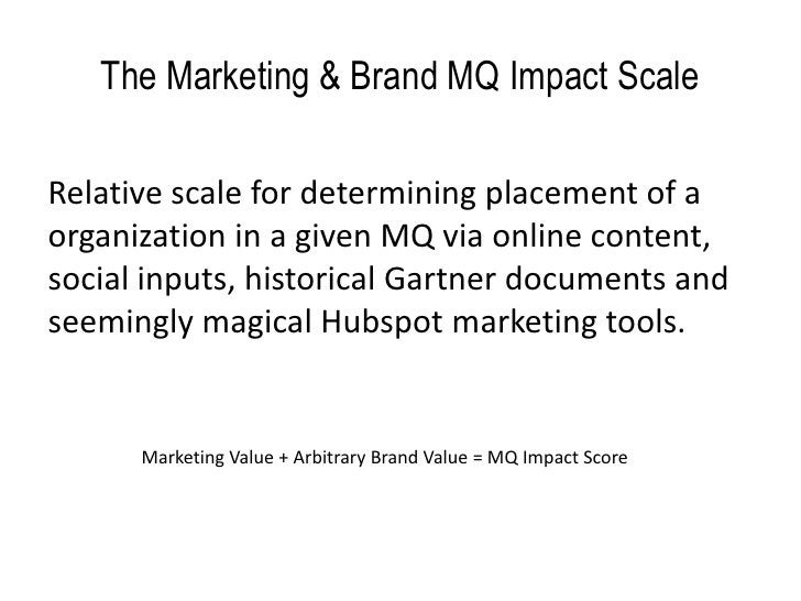 The Marketing & Brand MQ Impact Scale  Relative scale for determining placement of a organization in a given MQ via online...