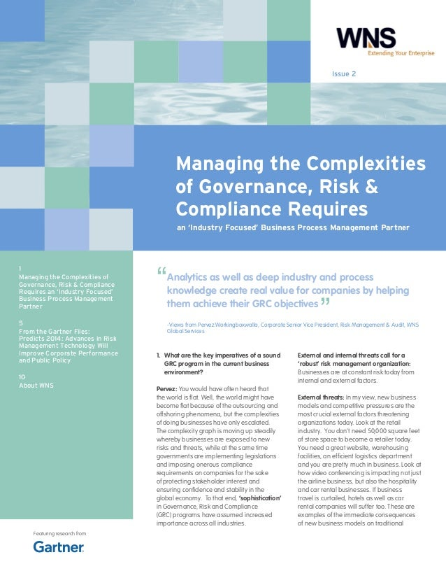 Issue 2  Managing the Complexities of Governance, Risk & Compliance Requires an 'Industry Focused' Business Process Manage...