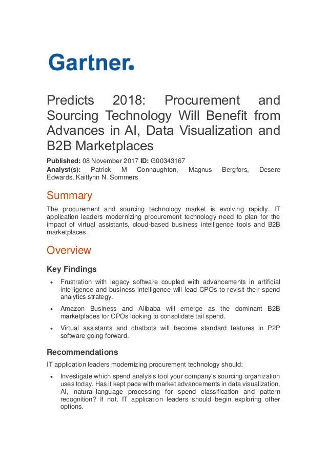 Predicts 2018: Procurement and Sourcing Technology Will Benefit from Advances in AI, Data Visualization and B2B Marketplac...