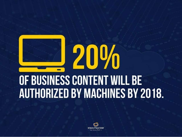 20% of business content will be authorized by machines by 2018.