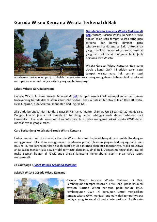 Garuda Wisnu Kencana Wisata Terkenal Di Bali