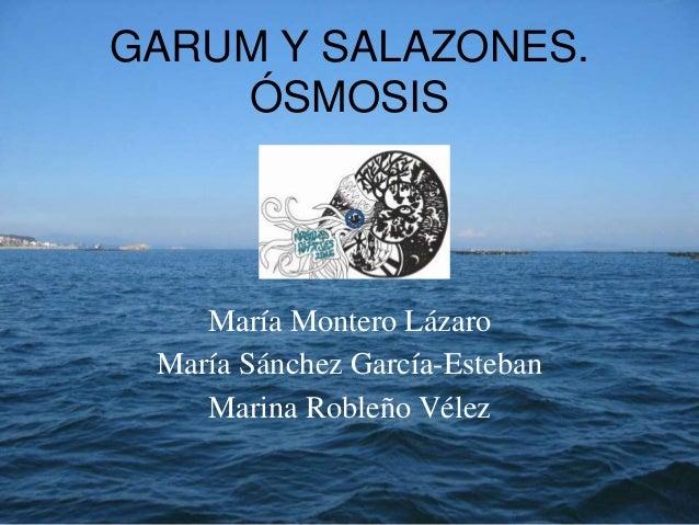 GARUM Y SALAZONES. ÓSMOSIS María Montero Lázaro María Sánchez García-Esteban Marina Robleño Vélez