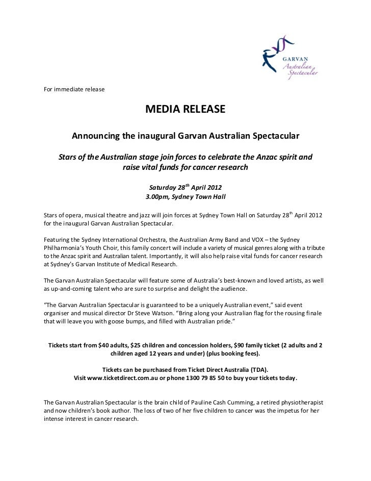 For immediate release                                        MEDIA RELEASE           Announcing the inaugural Garvan Austr...