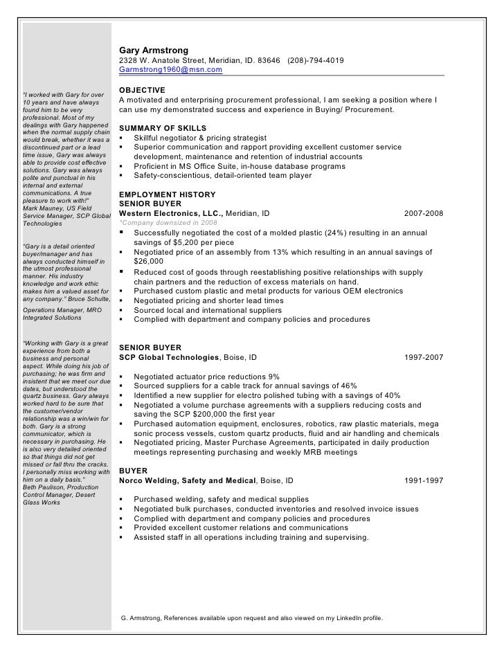Gary armstrong procurement buyer 1 word doc for Sample resume for purchaser