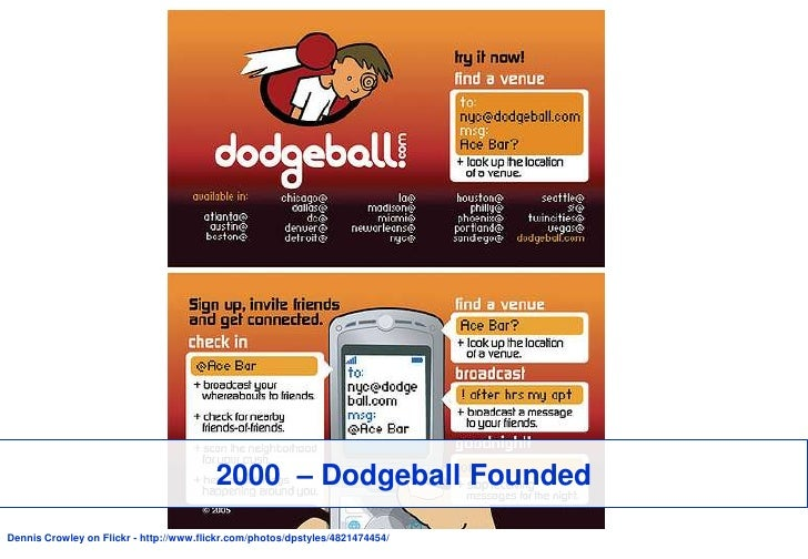 2000  – Dodgeball Founded<br />Dennis Crowley on Flickr - http://www.flickr.com/photos/dpstyles/4821474454/<br />