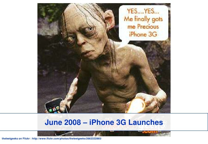 June 2008 – iPhone 3G Launches<br />theleetgeeks on Flickr : http://www.flickr.com/photos/theleetgeeks/2662322865/<br />