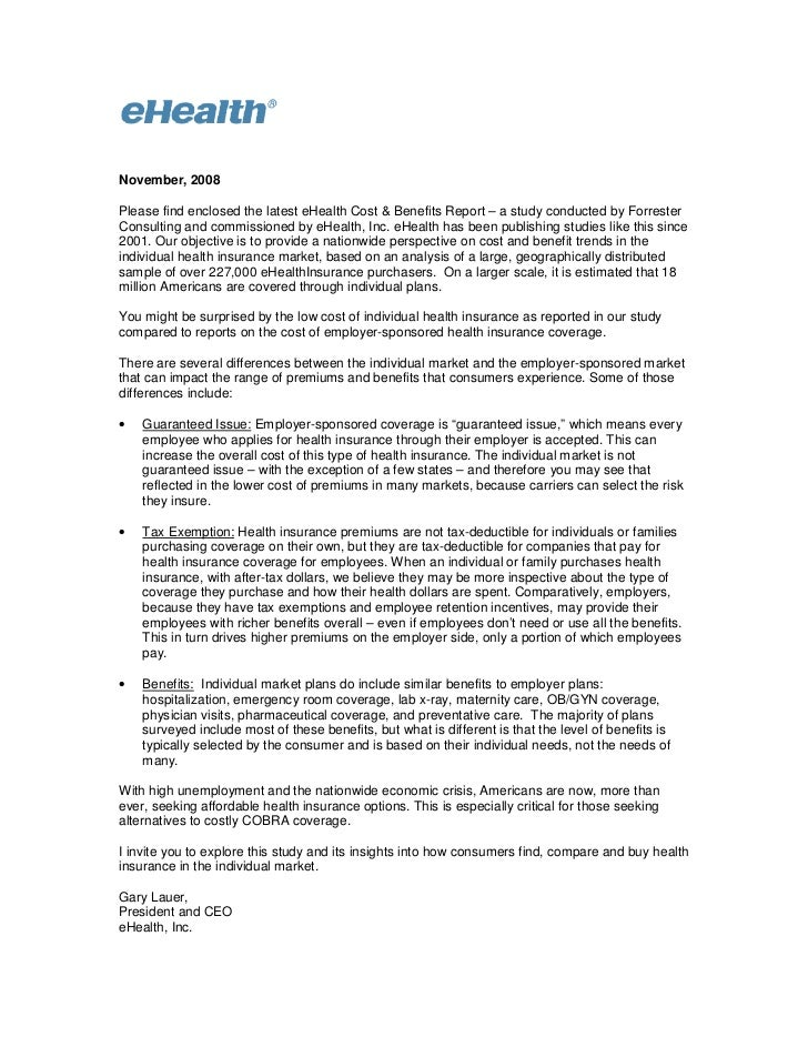 November, 2008Please find enclosed the latest eHealth Cost & Benefits Report – a study conducted by ForresterConsulting an...