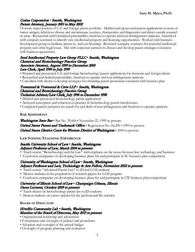 patent attorney resume