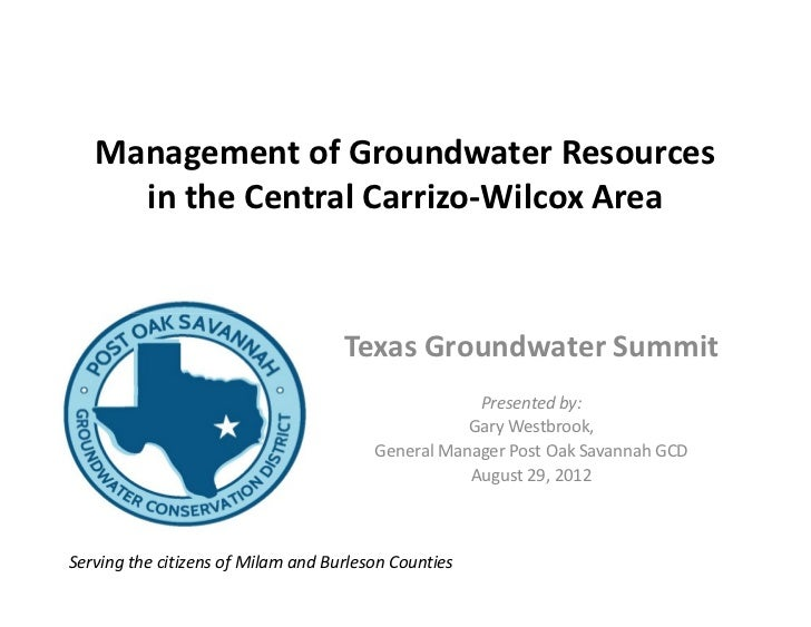 Management of Groundwater Resources     in the Central Carrizo-Wilcox Area                                    Texas Ground...