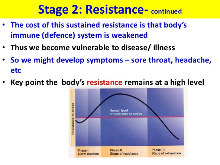 Stage 2: Resistance- continued• The cost of this sustained resistance is that body's  immune (defence) system is weakened•...