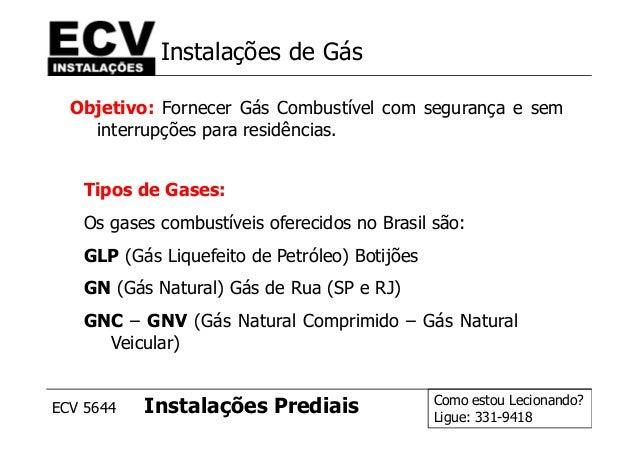 Como estou Lecionando? Ligue: 331-9418 ECV 5644 Instalações Prediais Instalações de Gás Objetivo: Fornecer Gás Combustível...
