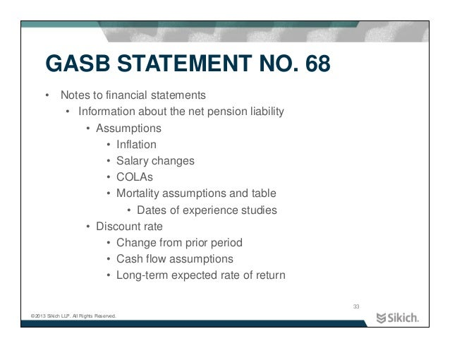 an examination of gasb statement number 34 Gasb 45 reporting and disclosure requirements statements of proprietary or fiduciary funds depending upon which fund type is used for.