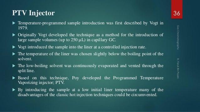 PTV Injector  Temperature-programmed sample introduction was first described by Vogt in 1979.  Originally Vogt developed...