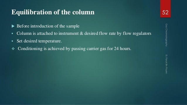 Equilibration of the column  Before introduction of the sample  Column is attached to instrument & desired flow rate by ...