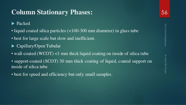 Column Stationary Phases:  Packed • liquid coated silica particles (<100-300 mm diameter) in glass tube • best for large ...
