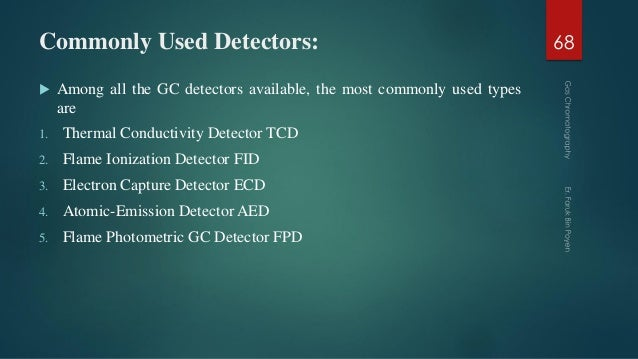 Commonly Used Detectors:  Among all the GC detectors available, the most commonly used types are 1. Thermal Conductivity ...
