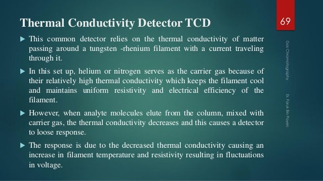 Thermal Conductivity Detector TCD  This common detector relies on the thermal conductivity of matter passing around a tun...
