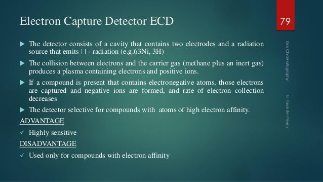 Electron Capture Detector ECD  The detector consists of a cavity that contains two electrodes and a radiation source that...
