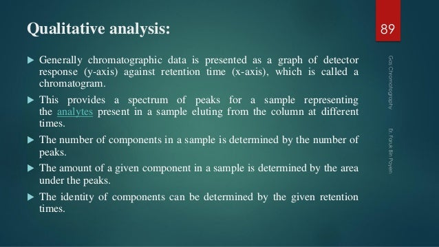 Qualitative analysis:  Generally chromatographic data is presented as a graph of detector response (y-axis) against reten...