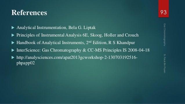References  Analytical Instrumentation, Bela G. Liptak  Principles of Instrumental Analysis 6E, Skoog, Holler and Crouch...