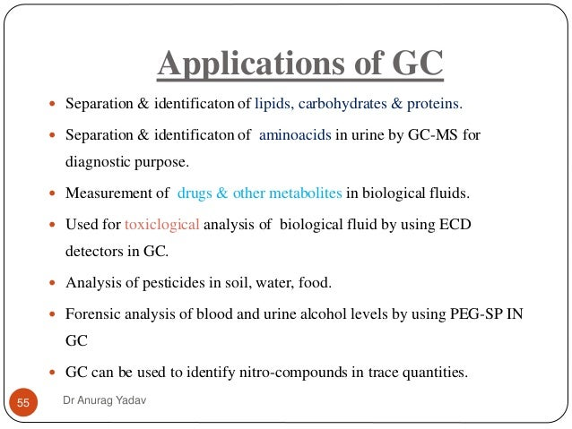 Application of gas chromatography ppt
