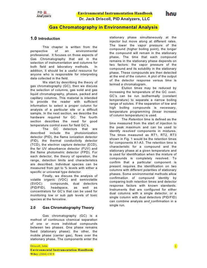 Environmental Instrumentation Handbook                                Dr. Jack Driscoll, PID Analyzers, LLC               ...