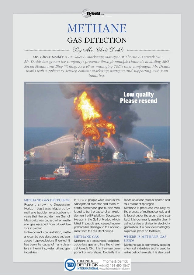 METHANE GAS DETECTION Reports show the Deepwater Horizon blast was triggered by methane bubble. Investigation re- veals th...