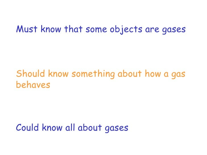 Must know that some objects are gases Should know something about how a gas behaves Could know all about gases