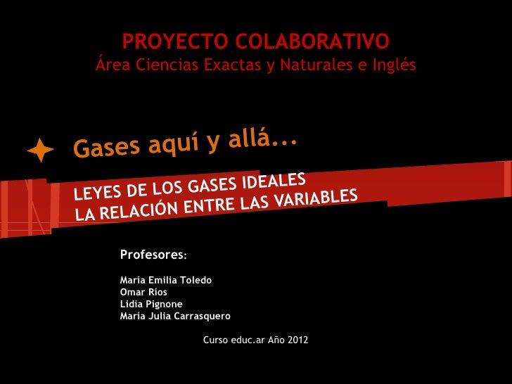 PROYECTO COLABORATIVO  Área Ciencias Exactas y Naturales e InglésGases aquí y allá...                        LE SLEYES DE ...