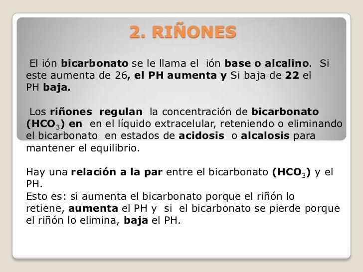 2. RIÑONES El ión bicarbonato se le llama el ión base o alcalino. Sieste aumenta de 26, el PH aumenta y Si baja de 22 elPH...