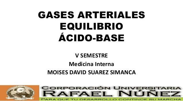 GASES ARTERIALES EQUILIBRIO ÁCIDO-BASE V SEMESTRE Medicina Interna MOISES DAVID SUAREZ SIMANCA