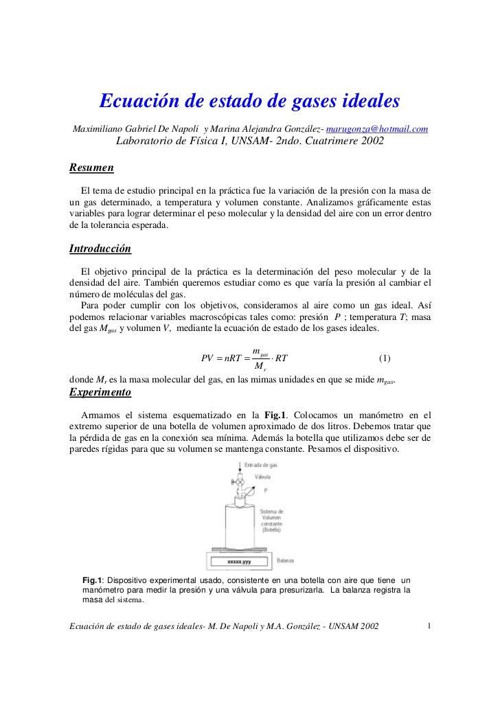 Ecuación de estado de gases idealesMaximiliano Gabriel De Napoli y Marina Alejandra González- marugonza@hotmail.com       ...